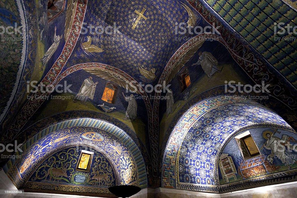 dark blue Mosaic of the galla placidia mausoleum in Ravenn stock photo