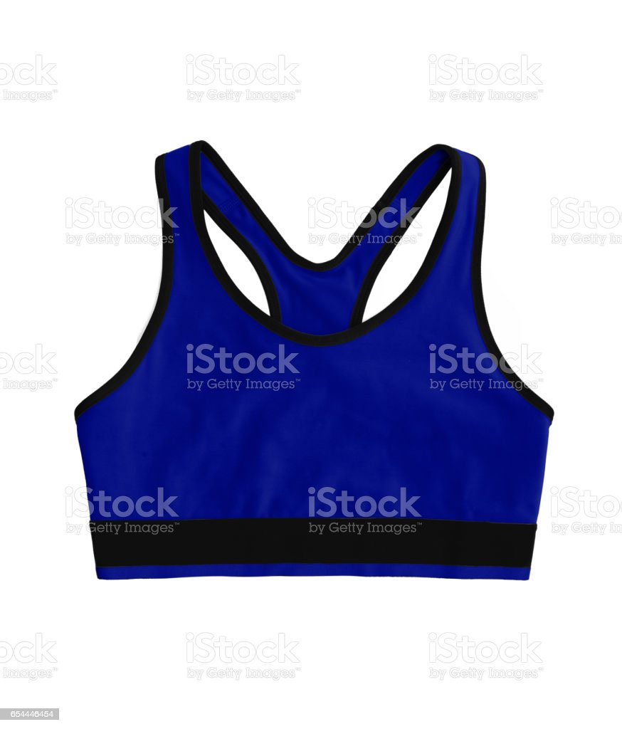dark blue neon racerback sports bra top, isolated on white background stock photo