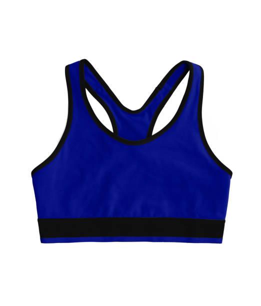 néon bleu foncé racerback sport soutien-gorge top, isolé sur fond blanc - brassière de sport photos et images de collection