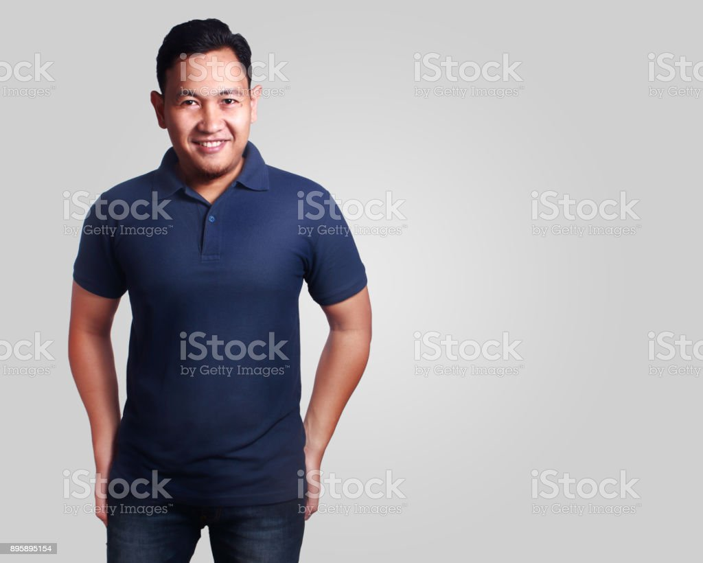 Dark Blue Polo Shirt Mockup Template Stock Photo More Pictures Of