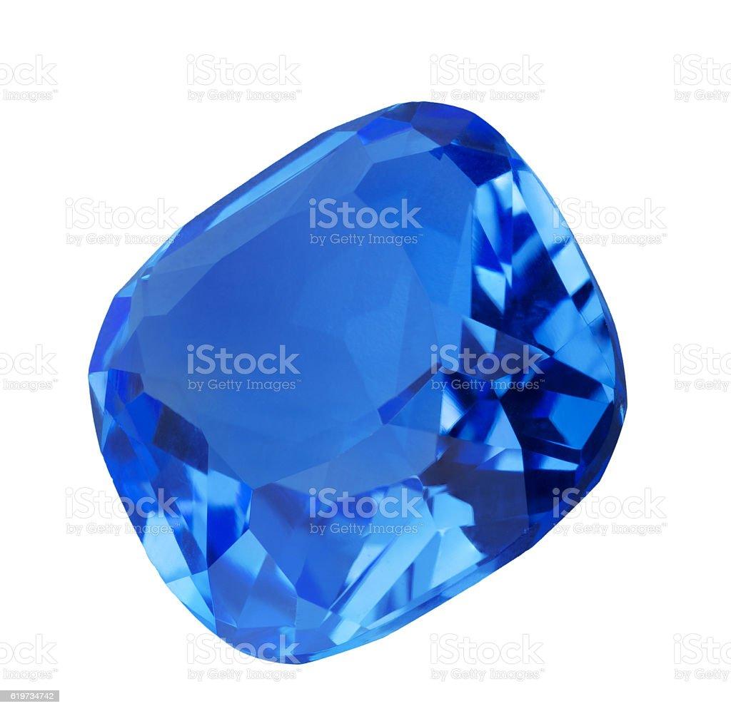dark blue sapphire gem on white stock photo