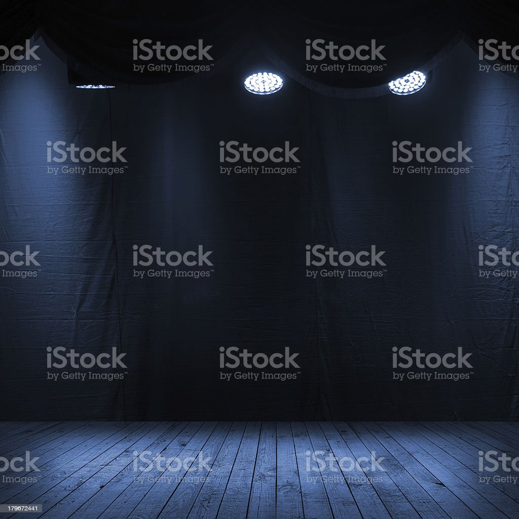 Dark blue scene interior with spotlights stock photo