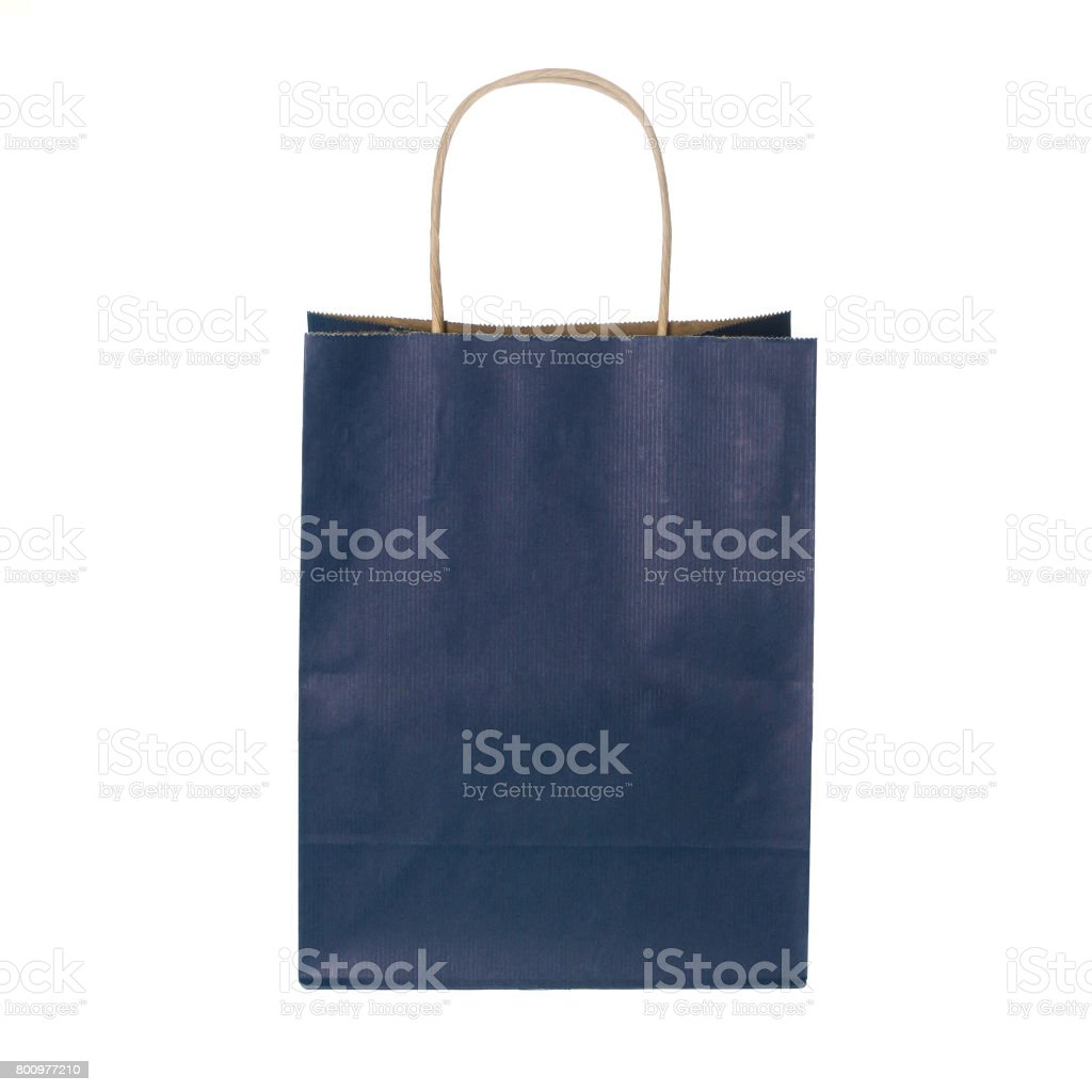 dark blue shopping bag stock photo