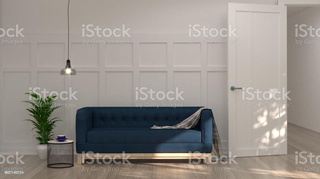Dunklen Blauen Sofa Vor Weißen Wand Mit Lampe Und Sideboard In Vintage  Leeren Raum 3d Rendering