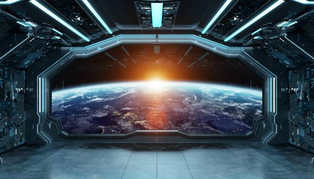 donker blauwe ruimteschip futuristisch interieur met raam zicht op planet earth 3d-rendering-elementen van deze afbeelding ingericht door nasa - ruimtevaart voertuig stockfoto's en -beelden