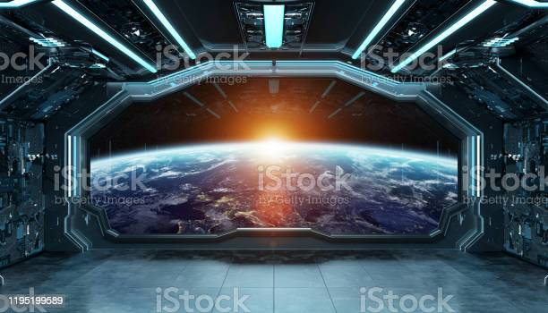Photo of Dark blue spaceship futuristic interior with window view on planet Earth 3d rendering elements of this image furnished by NASA