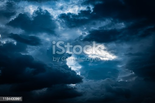 Dark blue storm cloudy sky background