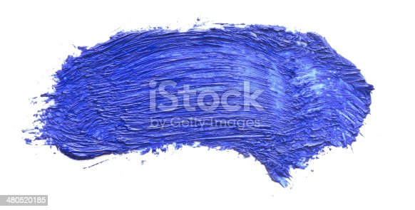 istock dark blue stroke of the paint brush isolated on white 480520185