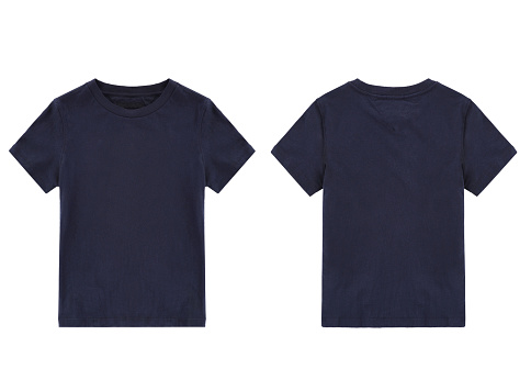 dark blue t-shirt, front and back view, clothes on isolated white background