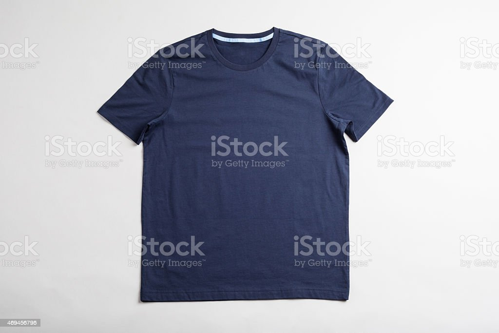 Dark blue tshirt template ready for your graphic design. stock photo