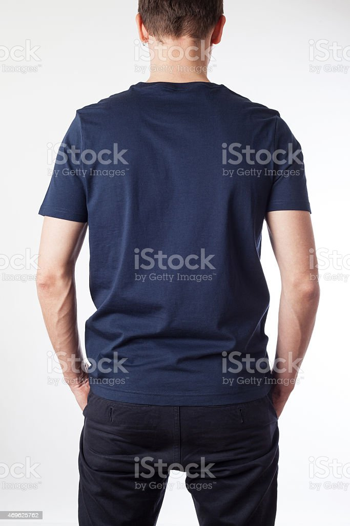 Dark blue t-shirt template ready for your graphic design. stock photo