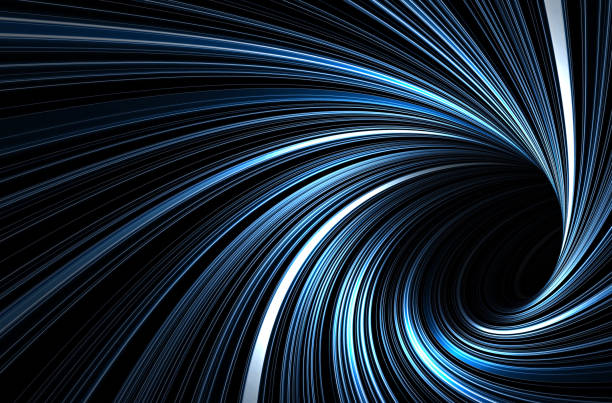 Dark blue tunnel with glowing spiral lines stock photo