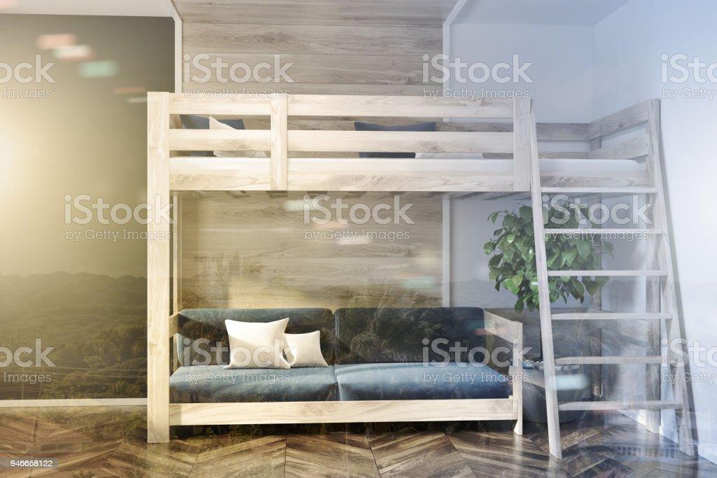 Schlafzimmer, Blau Dunkel Blaue Wand Hochbett Doppel Lizenzfreies Stock Foto