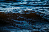 istock Dark blue waves in the water 1253853268