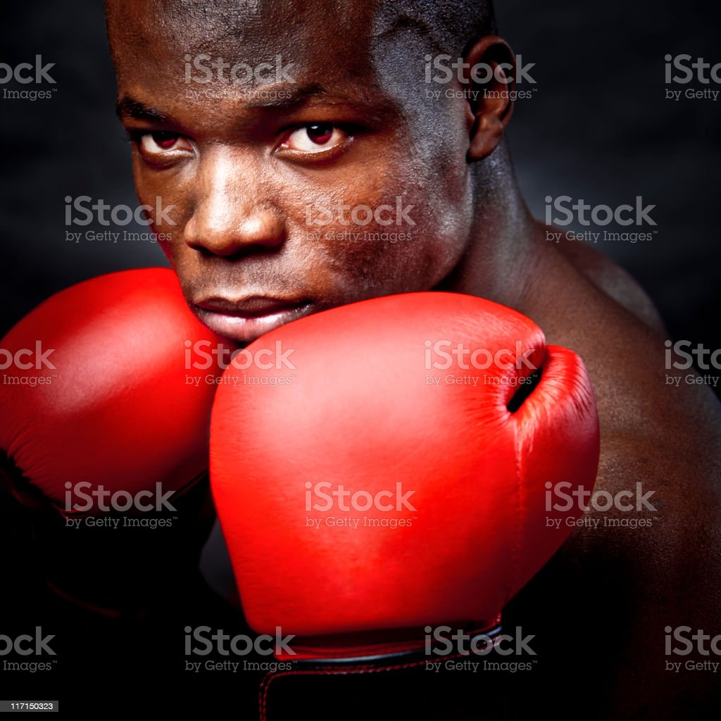 Dark boxer stock photo