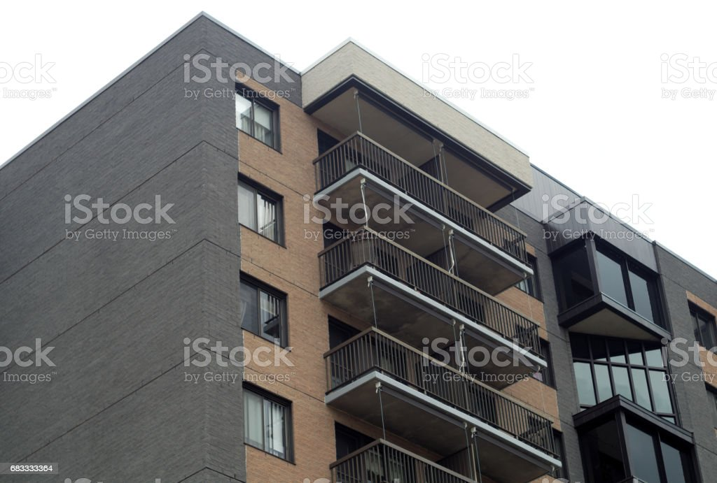 dark bricks building corner window and balcony residential architecture royalty-free stock photo
