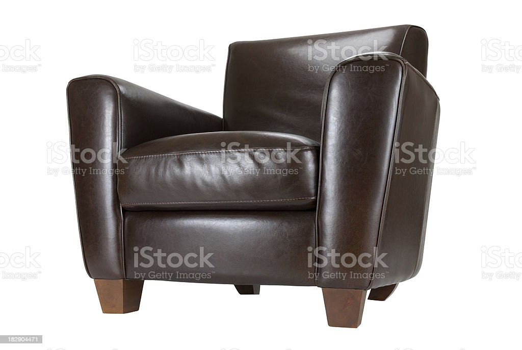 Dark brown leather chair with feet royalty-free stock photo