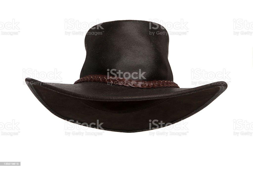 Dark brown leather hat on white background stock photo