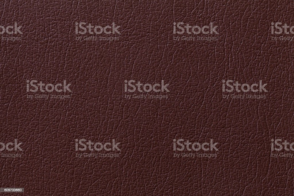 Dark brown leather texture background with pattern, closeup stock photo