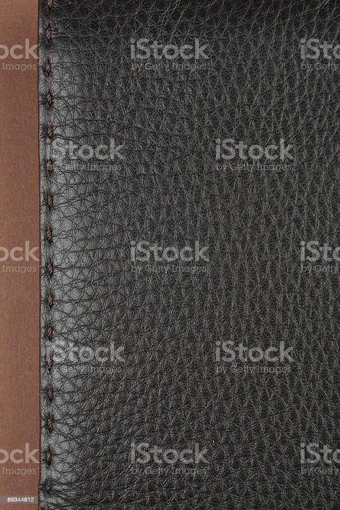 dark brown leather texture with stitch royalty-free stock photo