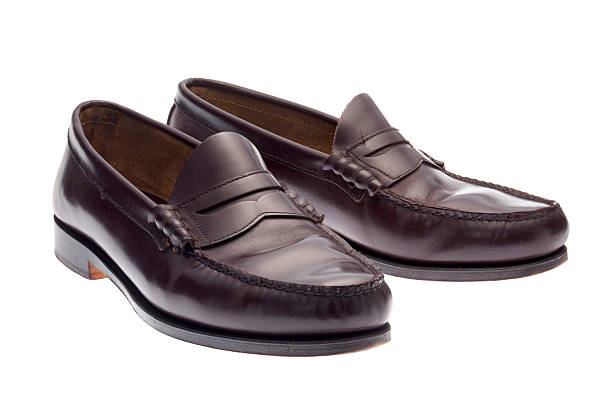 Dark brown loafers stock photo