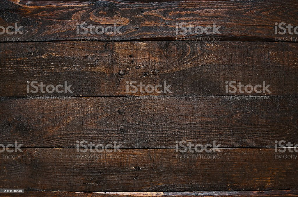 Dark brown rustic  aged barn wood planks background stock photo