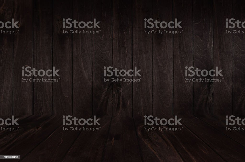 Dark Brown Vintage Wooden Board Background With Perspective Wall And