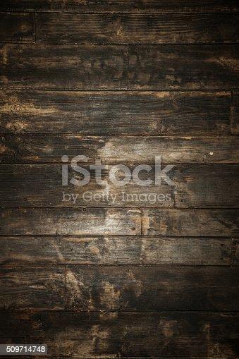 istock Dark brown wooden background. 509714748