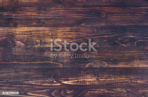 istock Dark brown wooden background with high resolution. Copy space 619268608