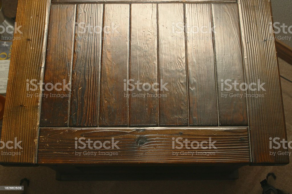 Dark Burnt Pine Wood Finish 2 Table Stock Photo More Pictures Of