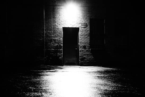 Dark Business Back Door The back door exit area of a business like location. alley stock pictures, royalty-free photos & images