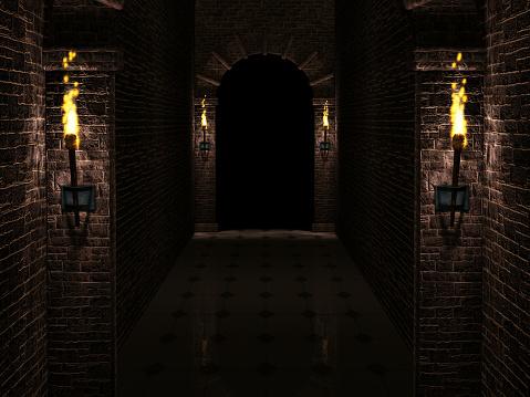 Dark castle corridor