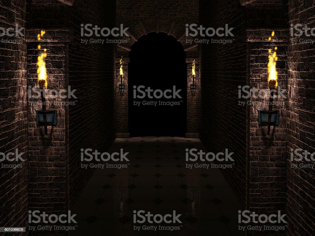 Dark castle corridor stock photo