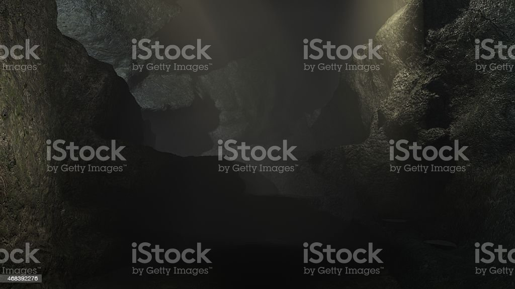 Dark cave 3d realistic render, texture background. stock photo