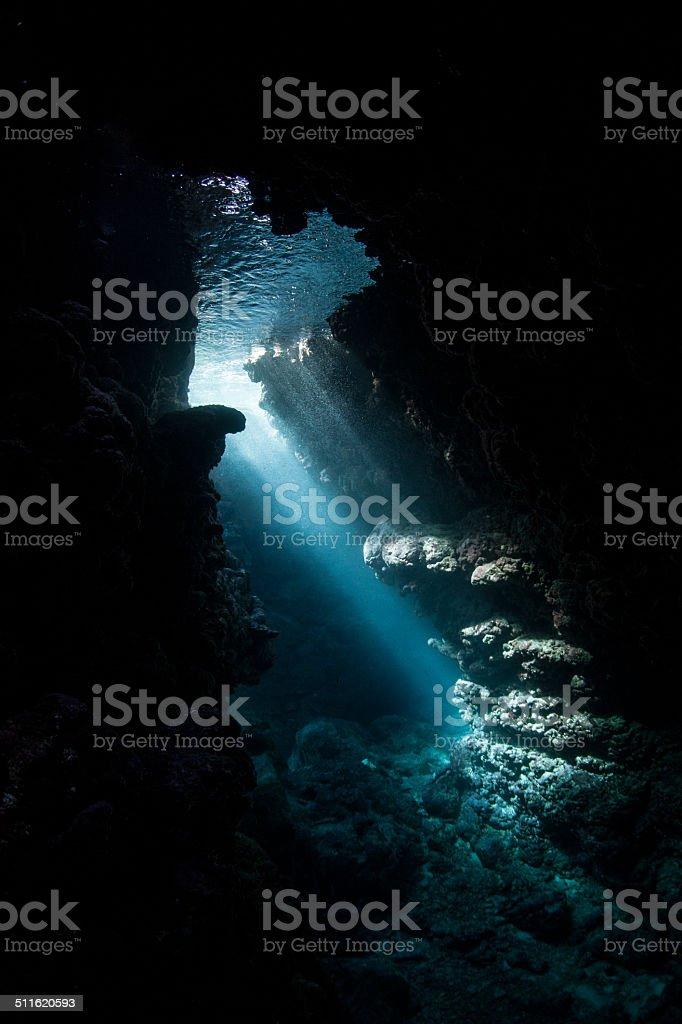 Dark Cavern and Light stock photo