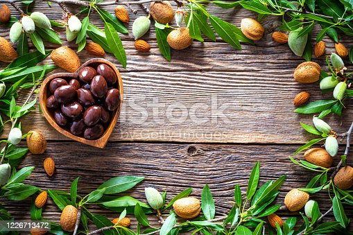 Dark chocolate almonds covered in a heart shape bowl border frame copy space with almond fruits and almond treee branches