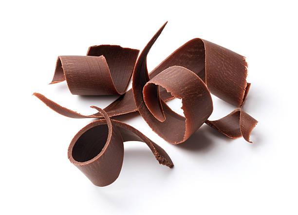 dark chocolate curls - pure chocola stockfoto's en -beelden