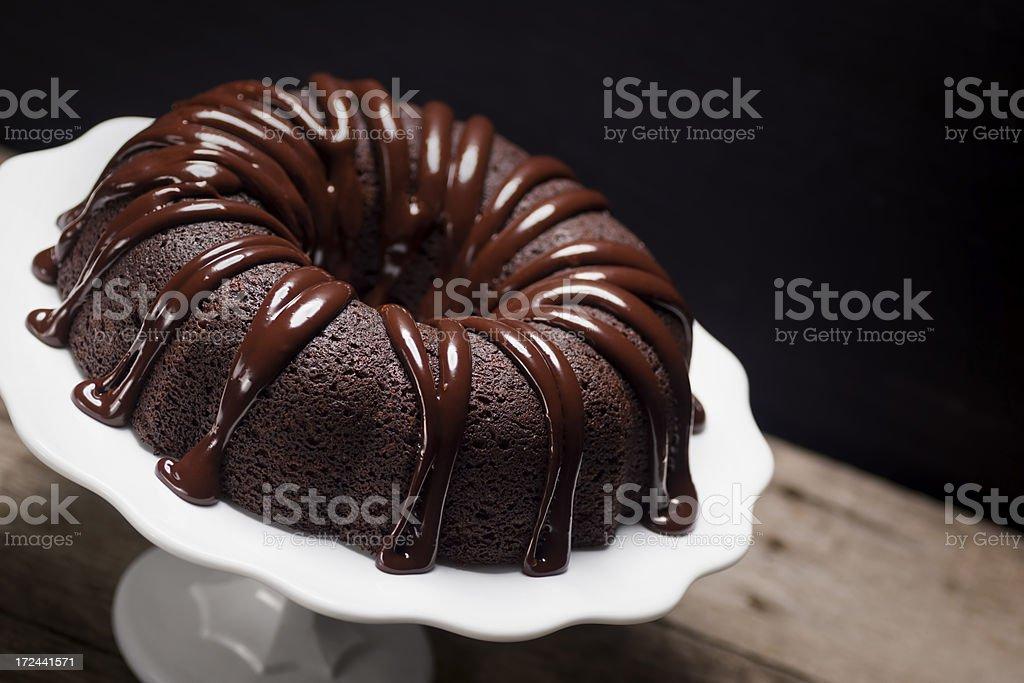 Dark Chocolate Ganache Covered Bundt Cake stock photo