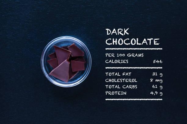 dunkler schokolade ist gesund super - zuckerfreie lebensmittel stock-fotos und bilder