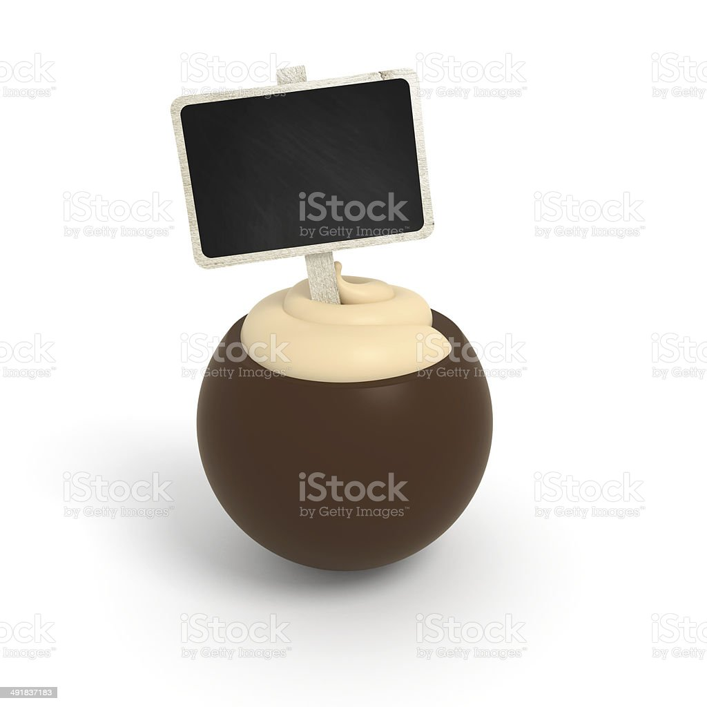 Dark chocolate praline witch vanilla cream filling and signboard stock photo
