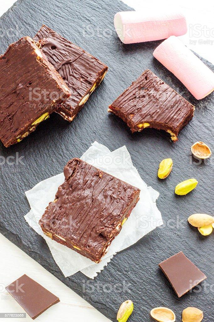 Dark Chocolate Rocky Road - Dessert stock photo