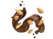 istock dark Chocolate splash with almond seeds. 1152641938