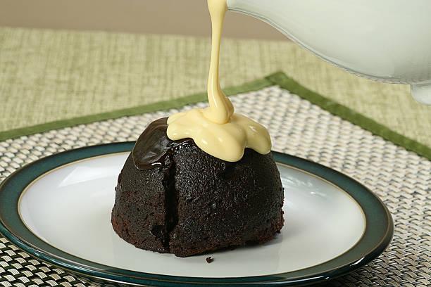dark chocolate sponge and custard stock photo