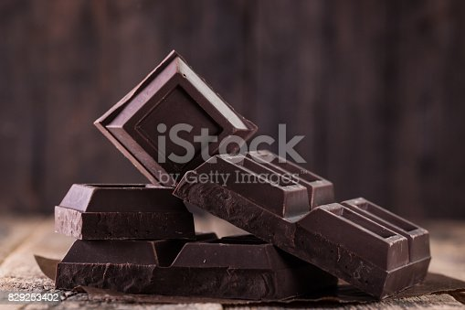 istock Dark chocolate stack, on wooden table,chocolate concept background 829253402