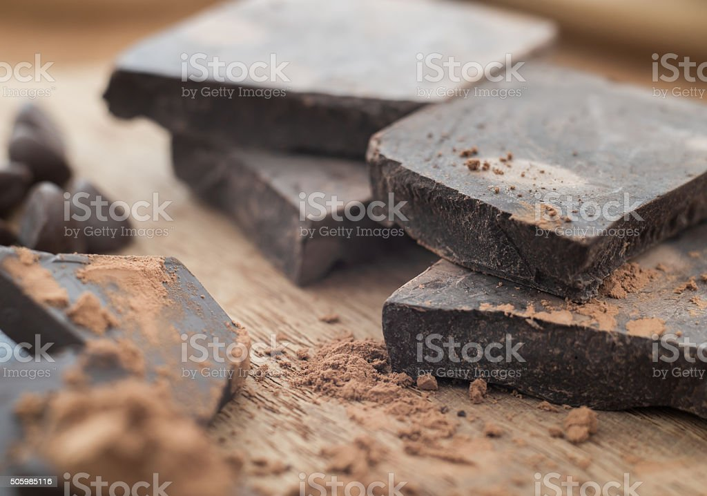 Dark chocolate with cocoa on wooden table stock photo