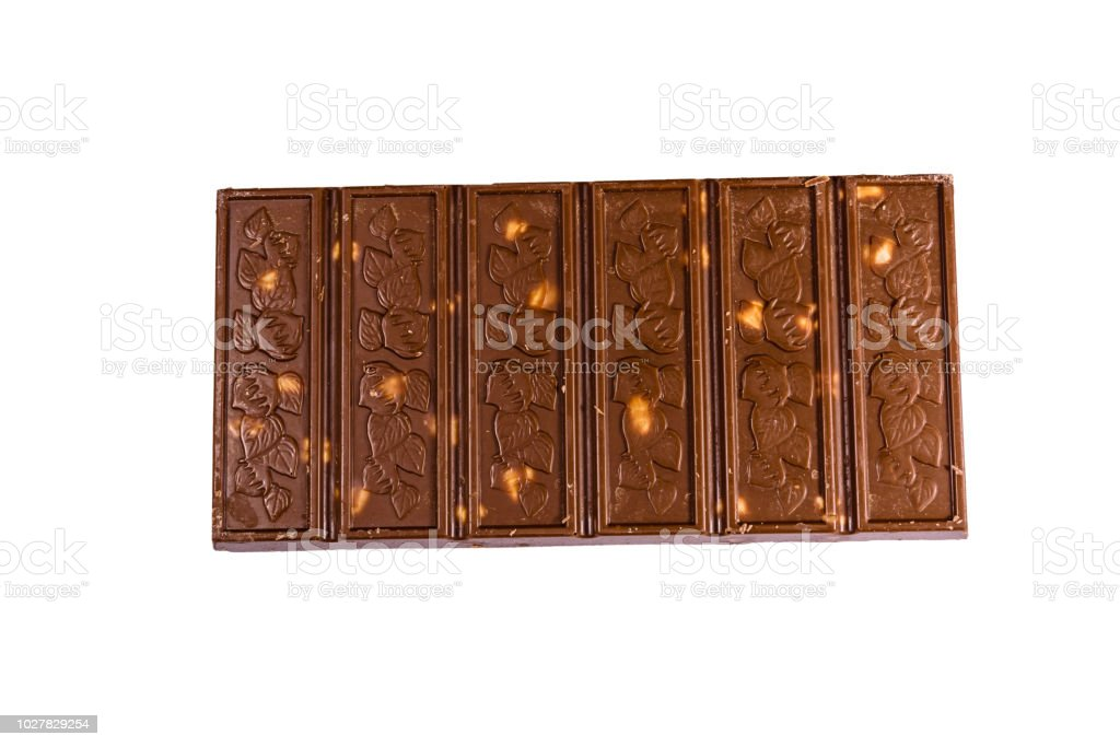 Dark Chocolate With Hazelnuts Isolated On A White Background
