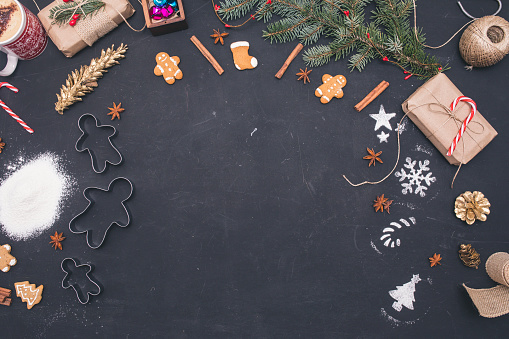istock Dark christmas background with christmas decoration, top view 859646202