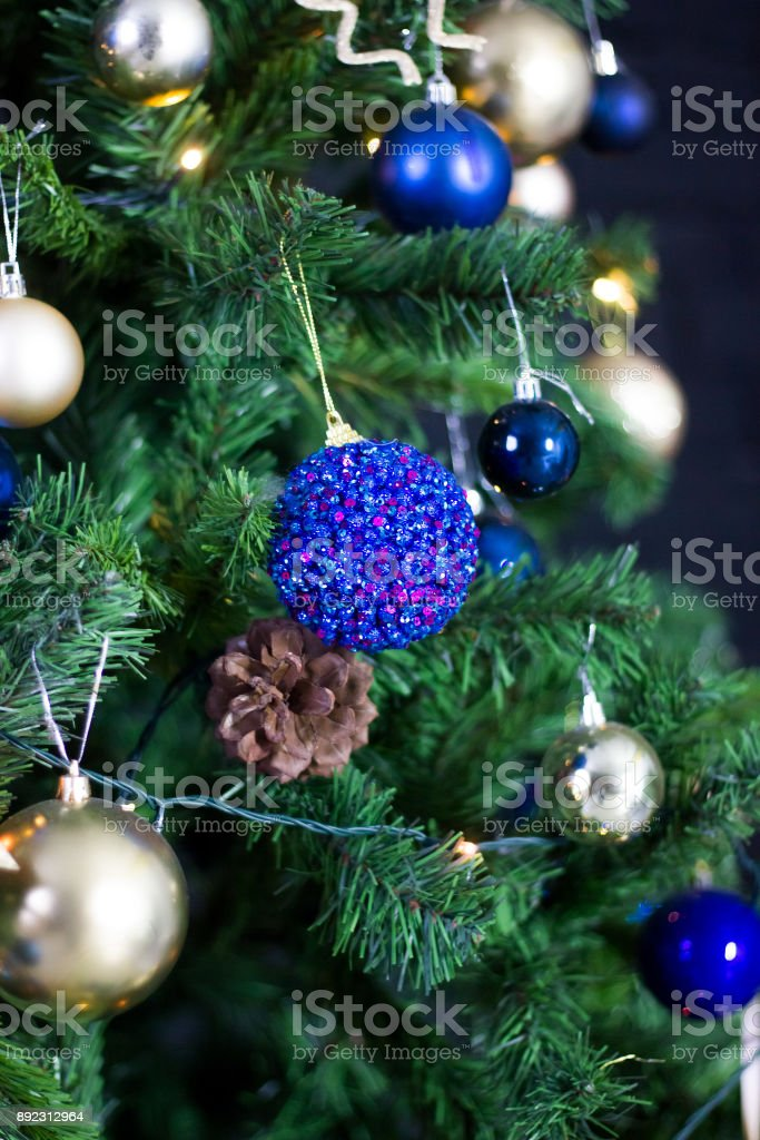 Dark Christmas Decoration With Toys On The Tree Stock Photo Download Image Now Istock