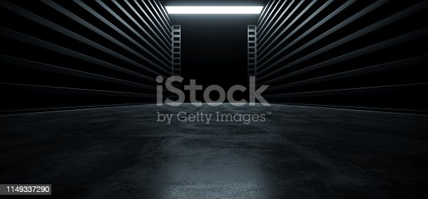 909529832 istock photo Dark Cinematic Futuristic Modern Garage Showroom Tunnel Corridor Concrete Metal Grunge Reflective Glossy Empty Space White Glow Showcase Stage Underground Hallway Entrance 3D Rendering 1149337290