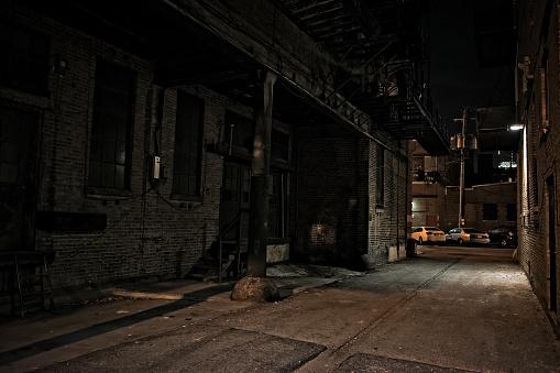 Dark City Alley at Night